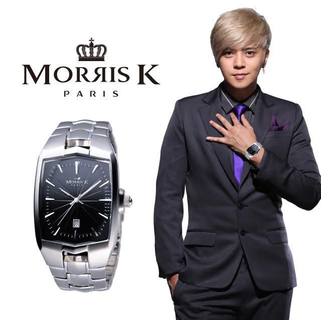 【Morris K】巴黎時尚光茫波紋腕錶 銀黑(男款) 34MM- MK09085-CA20