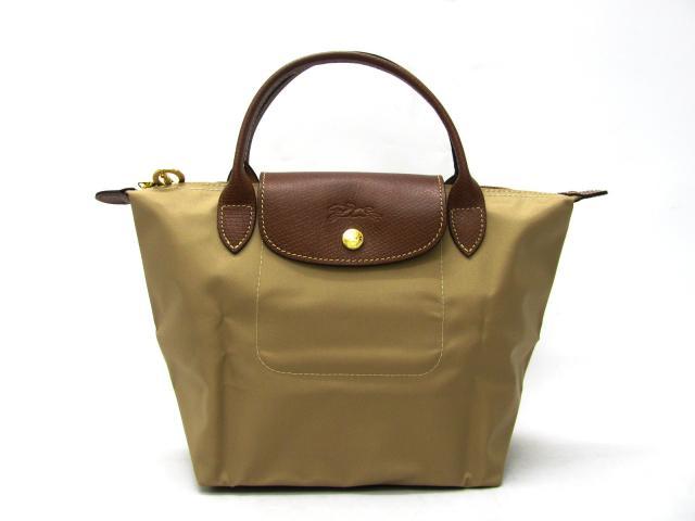 [短柄S號]國外Outlet代購正品 法國巴黎 Longchamp [1621-S號] 短柄 購物袋防水尼龍手提肩背水餃包 卡其色