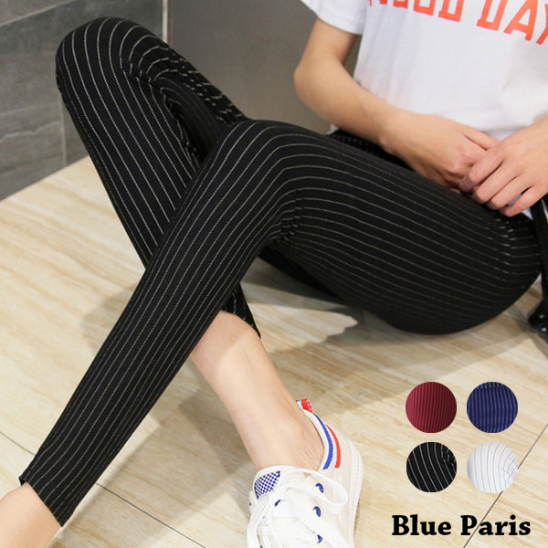 窄管褲 - 直條造型彈性緊身窄管褲【23299】藍色巴黎《4色》現貨+預購
