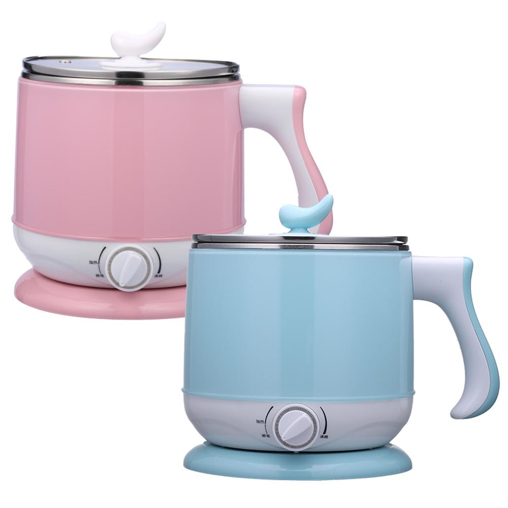 【晶工牌】2.2公升多功能美食鍋/不鏽鋼電碗 JK-301 (粉/藍)