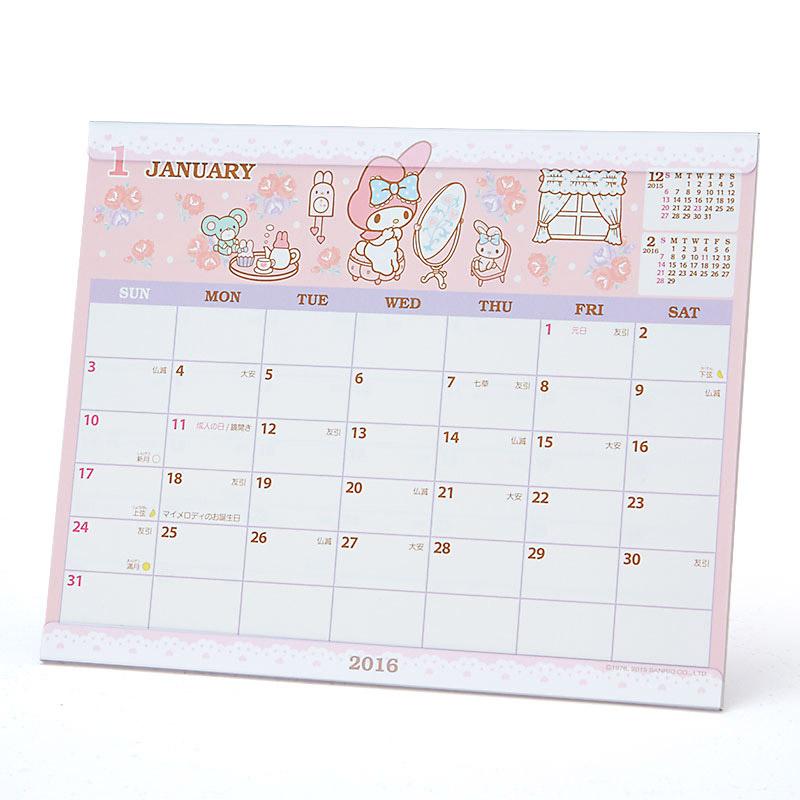 【真愛日本】15091800008 16桌曆-MD梳妝台玫瑰粉 桌曆 萬年曆 2016 年曆 美樂蒂 三麗鷗