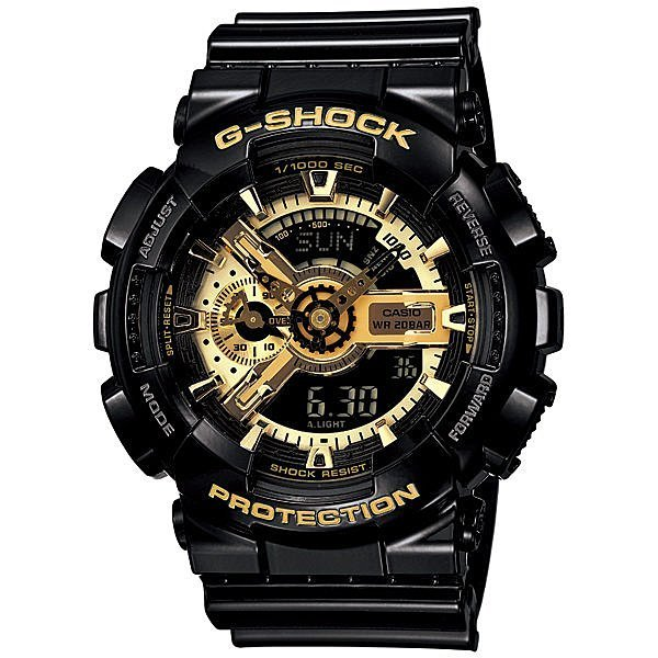 ☆Mr.Sneaker☆ G-SHOCK CASIO GA-110GB 1ADR 指針 卡西歐 台灣公司貨 保固/保卡 黑金