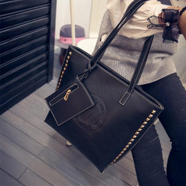 (預購)2015 歐美鉚釘復古子母包 大包 手提包 單肩包 手提袋