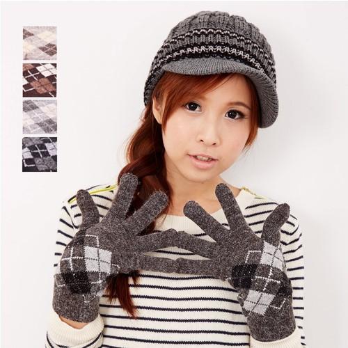 【MIT台灣製】雙層內裡羽毛紗針織手套保暖手套─菱格款(多色可選)
