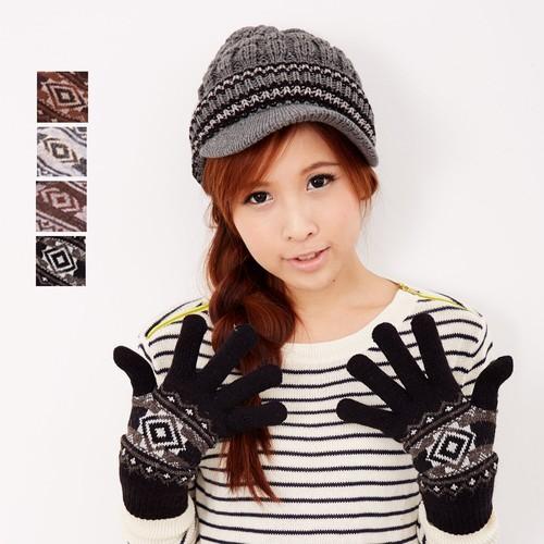 【MIT台灣製】雙層內裡羽毛紗針織手套保暖手套─菱型款(多色可選)