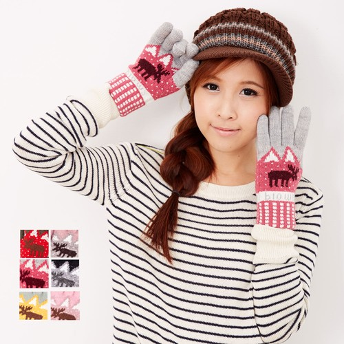 【MIT台灣製】雙層內裡羽毛紗針織手套保暖手套─提花麋鹿款(多色可選)