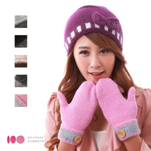【MIT台灣製】雙層內裡羽毛紗針織保暖手套─鈕扣款(多色可選)