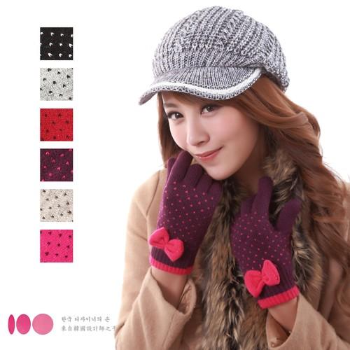 【MIT台灣製】雙層內裡羽毛紗針織保暖手套─蝴蝶結款(多色可選)