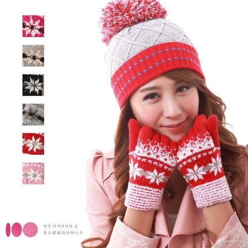 【MIT台灣製】雙層內裡羽毛紗針織保暖手套─雪花款