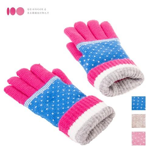 【MIT台灣製】雙層內裡羽毛紗針織保暖手套─配色點點款(多色可選)