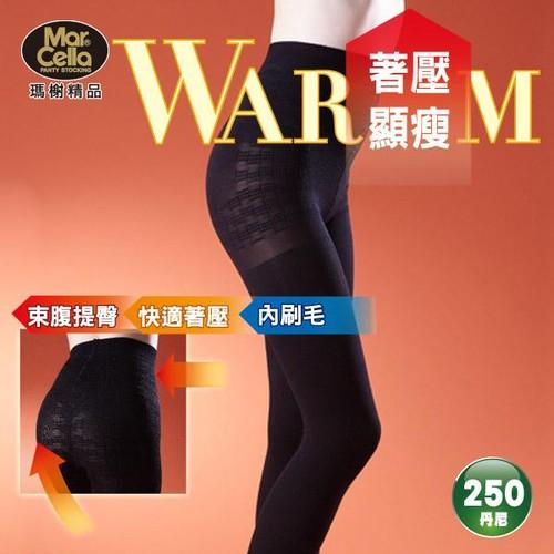 【瑪榭】內刷毛250丹。著壓顯瘦束腹褲襪 (3入組)