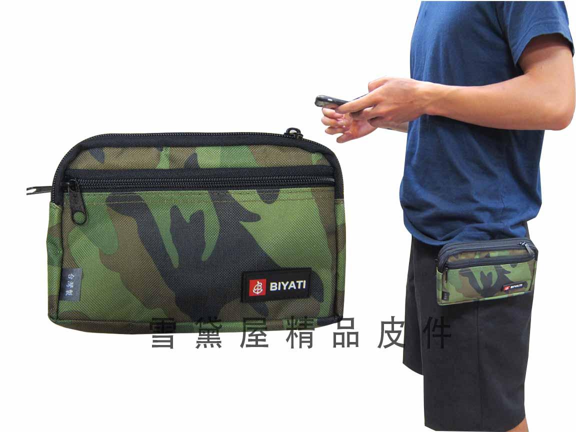 ~雪黛屋~BIYATI 腰包台灣製造可6吋手機穿過皮帶肩背斜側背隨身物品專用防水尼龍布二層拉鍊主袋口 #1150