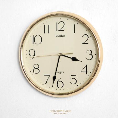SEIKO精工時鐘 簡單大數字設計閃耀金色外框掛鐘 時尚有型 柒彩年代【NE1624】原廠公司貨