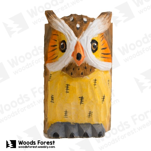 Woods Forest 木雕森林 - 禮盒款動物木雕筆筒【貓頭鷹】
