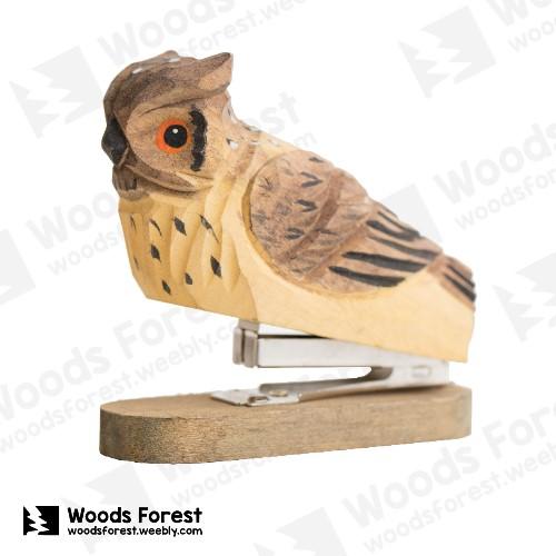 Woods Forest 木雕森林 - 禮盒款特製木雕釘書機【貓頭鷹】