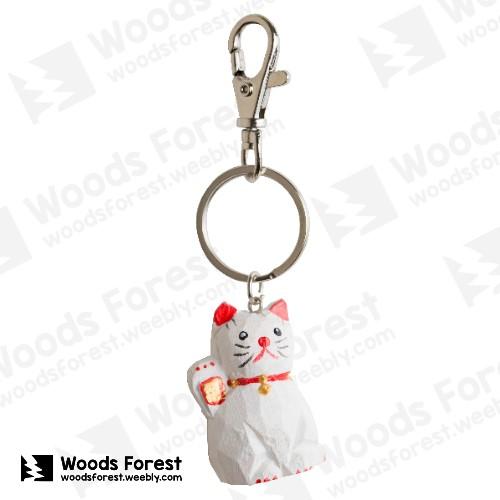 【我們約會吧!】木雕森林 木雕鑰匙圈【招財貓】