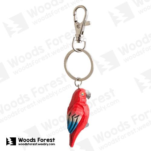 【我們約會吧!】木雕森林 木雕鑰匙圈【紅鸚鵡】