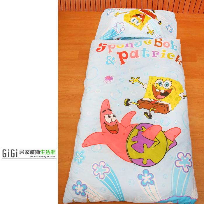《GiGi居家寢飾生活館》兒童卡通睡袋_冬夏兩用鋪棉_台灣製造_海綿寶寶
