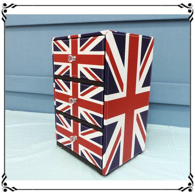 木製小斗櫃小3抽《LN6》英倫風 英國國旗三抽櫃 小型3抽櫃 皮革收納櫃 兒童玩具櫃 辦公室◤彩虹森林◥