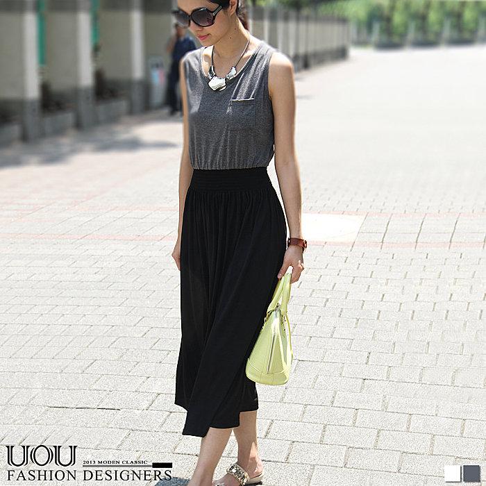 *UOU*韓國空運 氣質棉口袋無袖雙色拼接鬆緊連身長洋裝 裙•2色【16531】