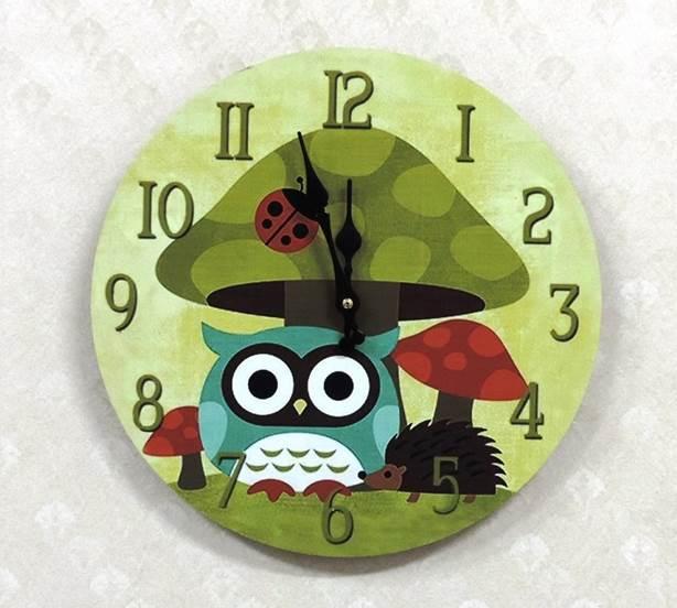 ◤彩虹森林◥《蘑菇貓頭鷹25》 zakka木製掛鐘 貓頭鷹木掛鐘 圓形掛鐘 居家布置 玄關掛鐘 貓頭鷹家飾
