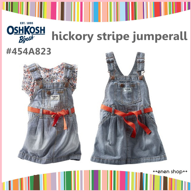++enen shop++ OshKosh B'gosh 單寧條紋吊帶裙 ∥ 12M/18M