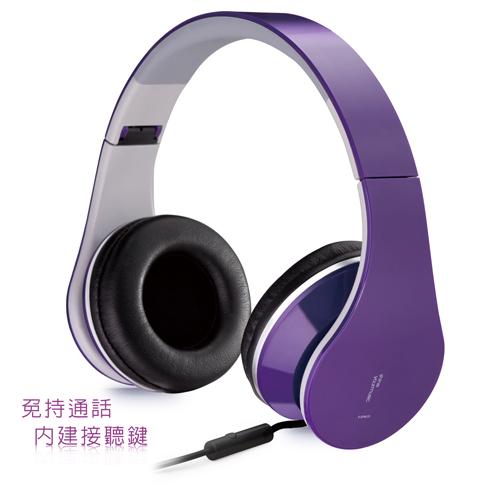 E-books S4 頭戴摺疊耳機麥克風-紫