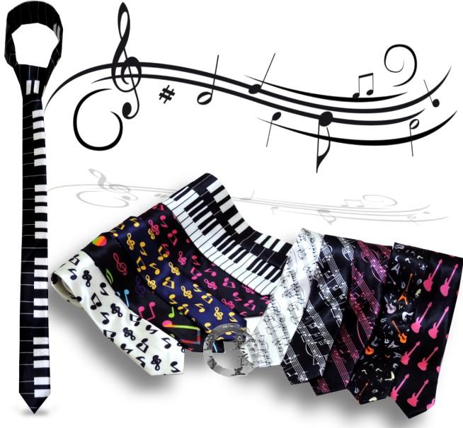 童衣圓【R016】R16音樂領帶 音符 樂譜 鍵盤 吉他 緞面 亮面 窄版 細版 手打 襯衫 領結 結婚 新郎 伴郎