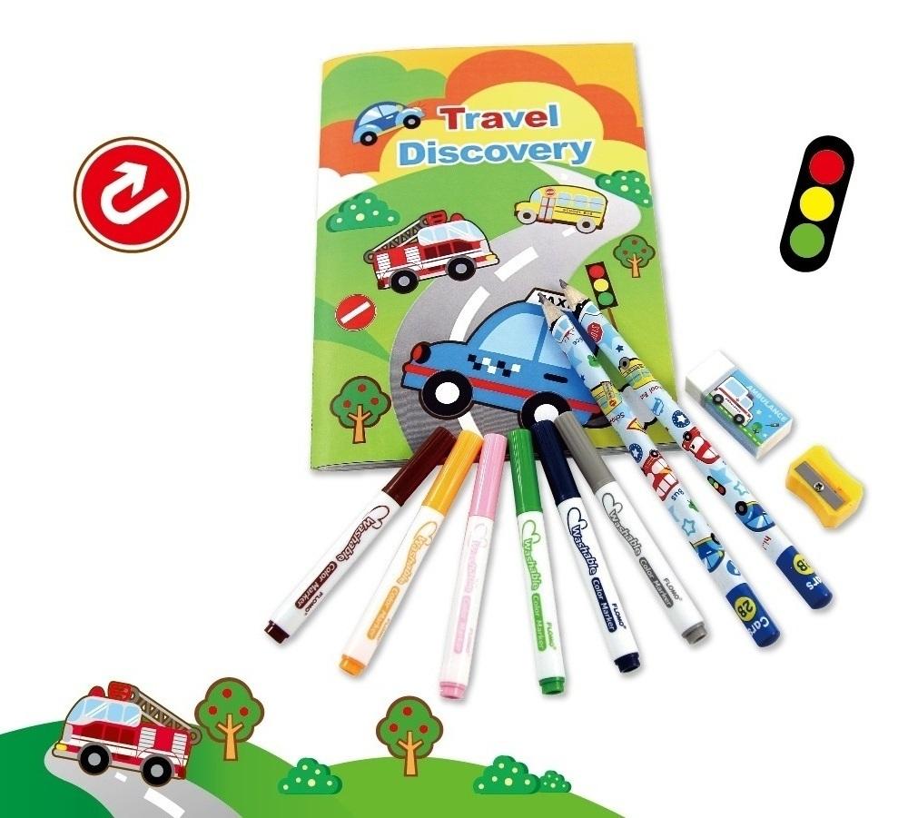 隨身畫彩繪文具組-含6色可水洗彩色筆(汽車)FN-TT012