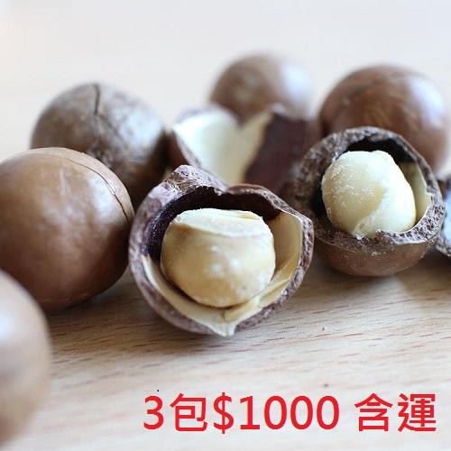 【澳洲進口帶殼夏威夷豆】帶殼+海鹽烘焙 美味極了 【3包特價$1000含運】