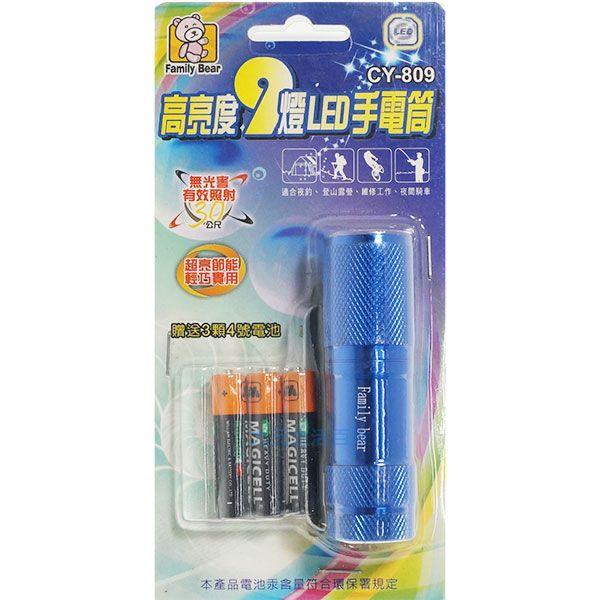 【九元生活百貨】CY-809高亮度9燈LED手電筒 LED照明