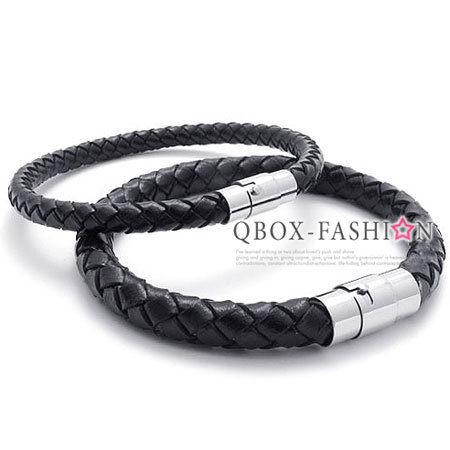 《 QBOX 》FASHION 飾品【W10021408】精緻個性編織皮革情侶磁扣皮革手鍊/手環(男/女款)