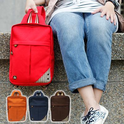 CORRE【CG71070】帆布毛革兩用後背包 共四色 紅/藍/橘/咖啡