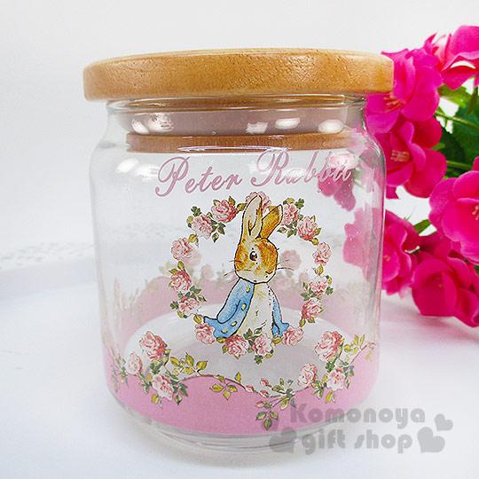 〔小禮堂〕彼得兔 玻璃密封罐《中.透明.粉.玫瑰花圈.500ml》木頭蓋