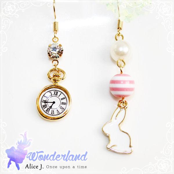 AJ 浪漫馬卡龍粉紅時鐘兔兔先生耳環