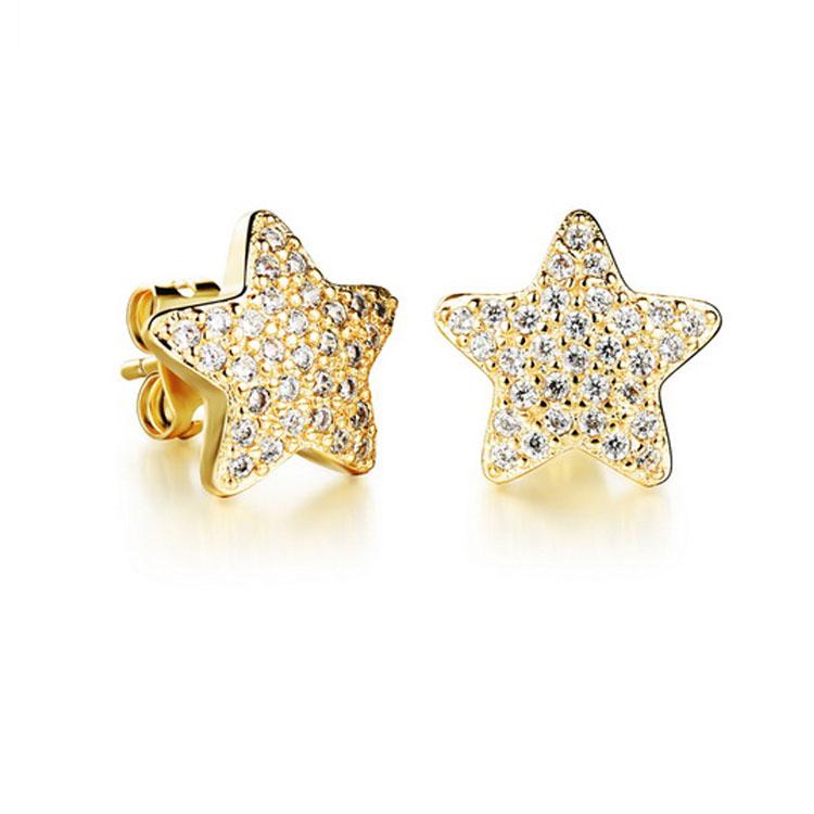 最新款日韓新品時尚百搭星星水鑽造型鍍白金鍍18K金耳環耳飾