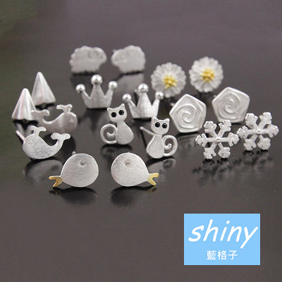 【30A97】shiny藍格子-甜美亮點.純銀氣質多款造型防過敏耳環