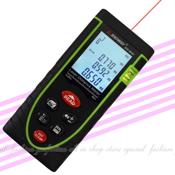 掌上型鐳射測距儀40M 距離測量儀 雙感光孔LCD背光高精度紅外線測量儀鐳射電子 雷射尺【GG402】◎123便利屋◎