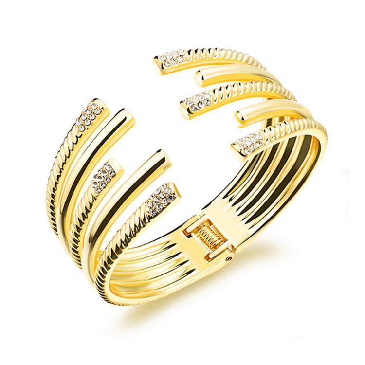 最新款時尚精致鑲鑽長短線條造型女款銅鍍18K金手環