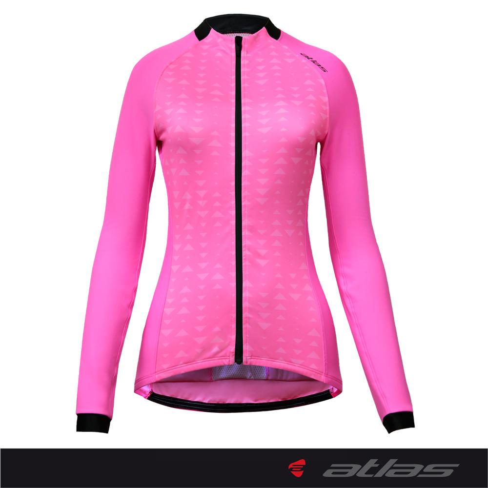 【亞特力士ATLAS】女保暖緊身長袖車衣12~18(亮粉紅) WJL-306-P