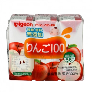 日本【貝親Pigeon】100%蘋果汁 (125mlx3入)