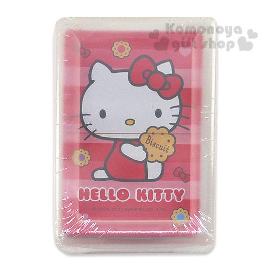 〔小禮堂〕Hello Kitty 撲克牌《紅.側坐.餅乾.橫條紋.盒裝》