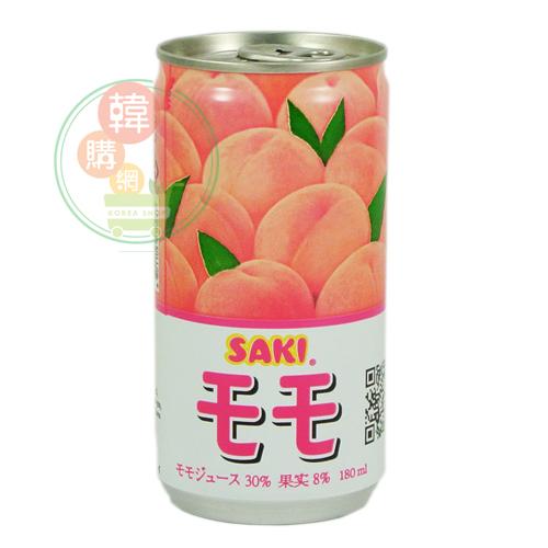 【韓購網】韓國SAKI水蜜桃果汁180ml★白桃顆粒風味有果肉果汁★韓國飲料