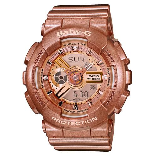 CASIO BABY-G BA-111-4ADR香檳金少女雙顯流行腕錶/香檳金面43.4mm