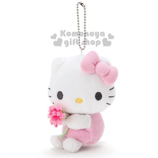 〔小禮堂〕Hello Kitty 絨毛娃娃吊飾《粉.拿花》