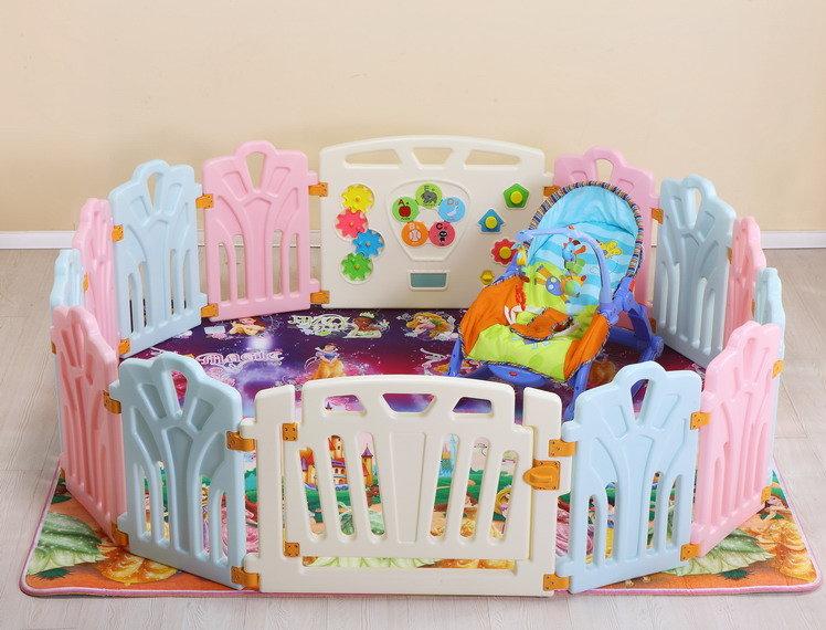十二色童話 兒童便攜式遊戲圍欄 嬰兒護欄 兒童遊戲屋 18片(2大+16小)