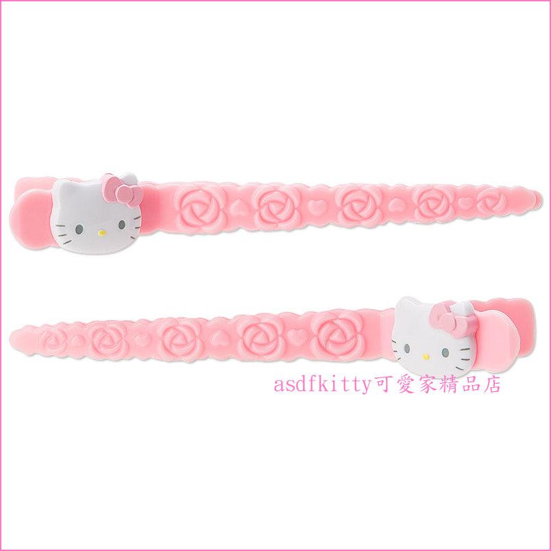 asdfkitty可愛家☆KITTY粉玫瑰長髮夾/劉海夾/側邊夾-1組2入-日本正版商品
