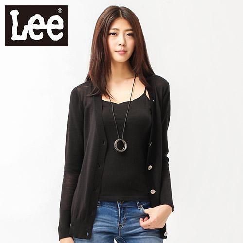 【Super Sales 外套下殺↘1.5折】LEE 毛衣外套 長版長袖針織前開襟-女款(黑)-女款(黑)