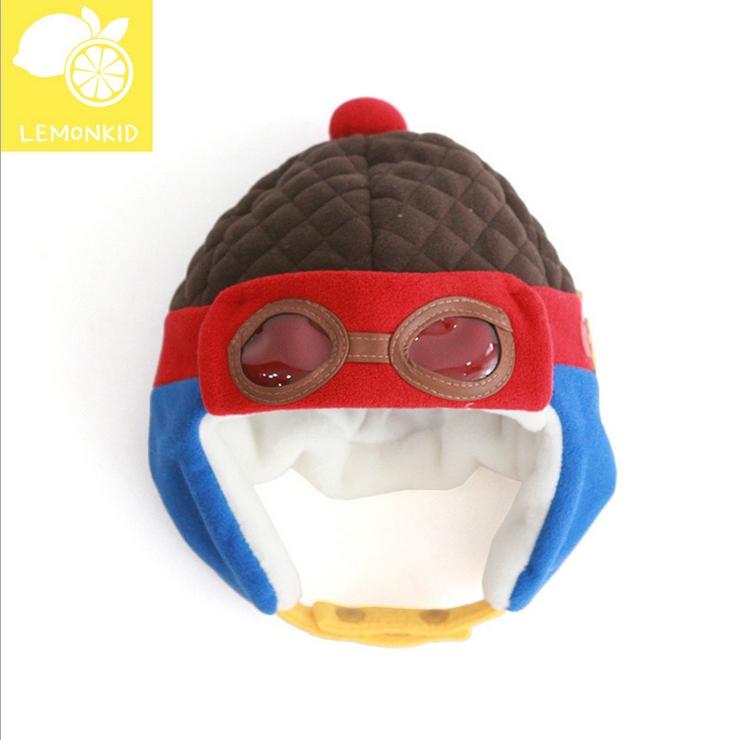 Lemonkid◆秋冬可愛酷酷熊眼鏡造型兒童保暖護耳帽飛行帽-咖啡