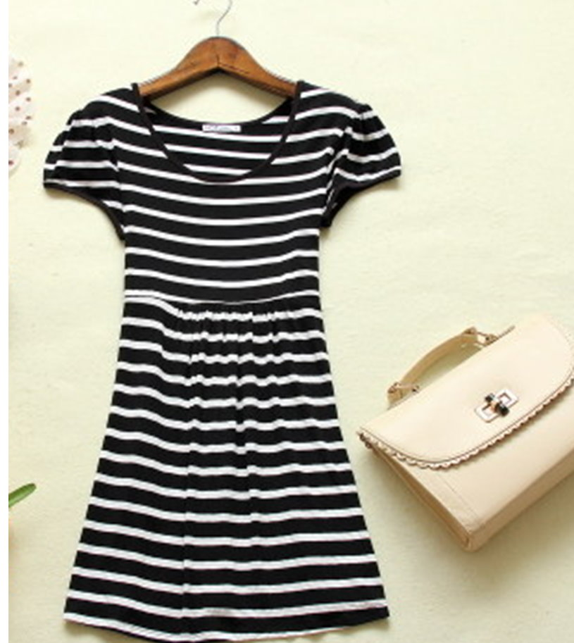 YJY黑白條紋洋裝[20117]